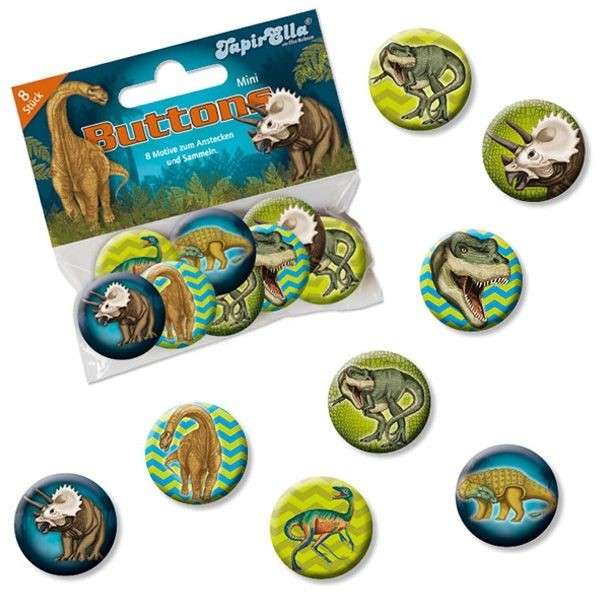 Buttons Mini Dinosaurier 8er,Metall,2,5cm