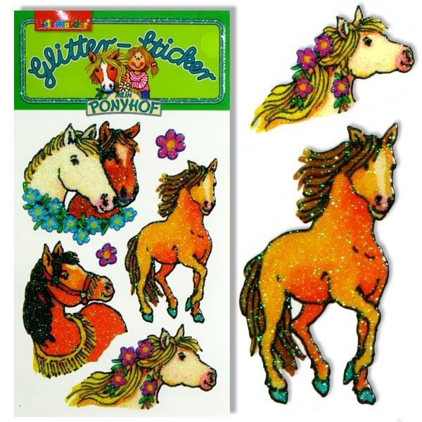 Glitzersticker Ponyhof Pärch., 1 Karte