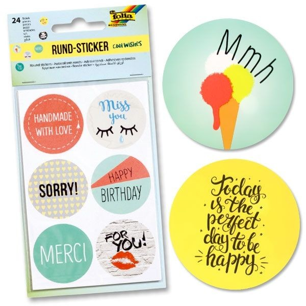 Sticker Cool Wishes, 24 Rundsticker, 4cm